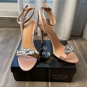 NWT Lipsy London satin nude embellished heels
